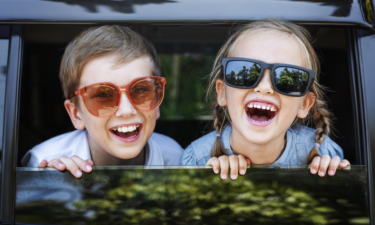 happy children in a car